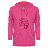 ENZA Ladies Hot Pink V Notch Raw Edge Fleece Hoodie-Sabercat Hot Pink Glitter