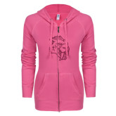 ENZA Ladies Hot Pink Light Weight Fleece Full Zip Hoodie-Sabercat Hot Pink Glitter
