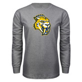 Grey Long Sleeve T Shirt-Sabercat Head