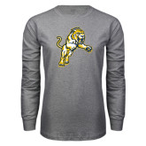 Grey Long Sleeve T Shirt-Sabercat Lunge