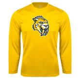 Performance Gold Longsleeve Shirt-Sabercat Head