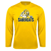 Syntrel Performance Gold Longsleeve Shirt-Sabercat Swoosh