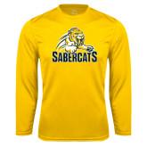 Performance Gold Longsleeve Shirt-Sabercat Swoosh