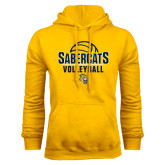 Gold Fleece Hoodie-Volleyball Design