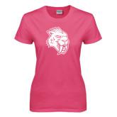 Ladies Fuchsia T Shirt-Sabercat Head