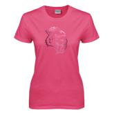 Ladies Fuchsia T Shirt-Sabercat Head Foil