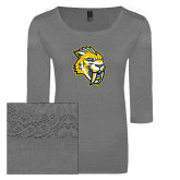 Ladies Grey Heather Tri Blend Lace 3/4 Sleeve Tee-Sabercat Head