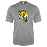 Performance Grey Heather Contender Tee-Sabercat Head