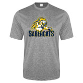 Performance Grey Heather Contender Tee-Sabercat Swoosh