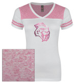 Ladies White/Bright Pink Juniors Varsity V Neck Tee-Sabercat Head Foil