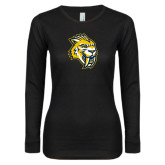 Ladies Black Long Sleeve V Neck T Shirt-Sabercat Head
