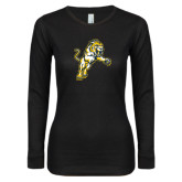 Ladies Black Long Sleeve V Neck T Shirt-Sabercat Lunge