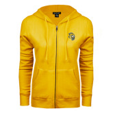 ENZA Ladies Gold Fleece Full Zip Hoodie-Sabercat Head