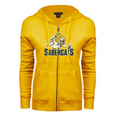 ENZA Ladies Gold Fleece Full Zip Hoodie-Sabercat Swoosh
