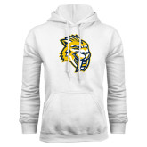 White Fleece Hood-Sabercat Head