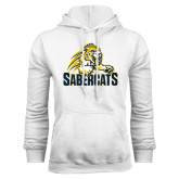 White Fleece Hood-Sabercat Swoosh