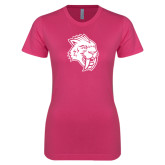 Ladies SoftStyle Junior Fitted Fuchsia Tee-Sabercat Head
