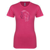 Ladies SoftStyle Junior Fitted Fuchsia Tee-Sabercat Head Foil