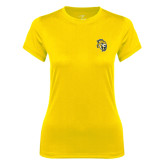 Ladies Syntrel Performance Gold Tee-Sabercat Head
