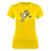 Ladies Syntrel Performance Gold Tee-Sabercat Lunge