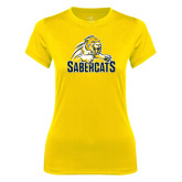 Ladies Syntrel Performance Gold Tee-Sabercat Swoosh