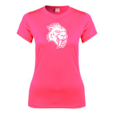 Ladies Performance Hot Pink Tee-Sabercat Head
