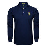 Navy Long Sleeve Polo-Sabercat Head