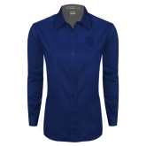 Ladies Navy Twill Button Down Long Sleeve-Sabercat Head