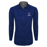 Ladies Navy Twill Button Down Long Sleeve-Maranatha Baptist University