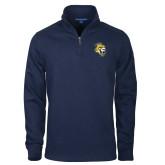Navy Rib 1/4 Zip Pullover-Sabercat Head