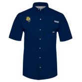 Columbia Bonehead Navy Short Sleeve Shirt-Sabercat Head