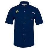 Columbia Bonehead Navy Short Sleeve Shirt-Sabercat Lunge