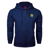 Navy Fleece Full Zip Hood-Sabercat Head