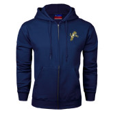 Navy Fleece Full Zip Hood-Sabercat Lunge