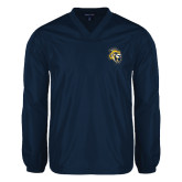 V Neck Navy Raglan Windshirt-Sabercat Head