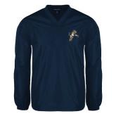 V Neck Navy Raglan Windshirt-Sabercat Lunge