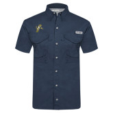 Columbia Tamiami Performance Navy Short Sleeve Shirt-Sabercat Lunge