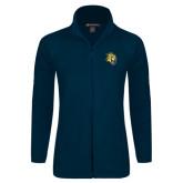 Ladies Fleece Full Zip Navy Jacket-Sabercat Head