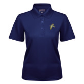 Ladies Navy Dry Mesh Polo-Sabercat Lunge