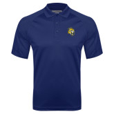 Navy Textured Saddle Shoulder Polo-Sabercat Head