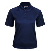 Ladies Navy Textured Saddle Shoulder Polo-Sabercat Head