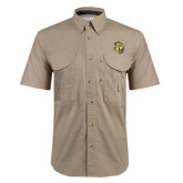 Khaki Short Sleeve Performance Fishing Shirt-Sabercat Head