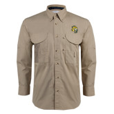Khaki Long Sleeve Performance Fishing Shirt-Sabercat Head