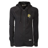 Ladies Under Armour Black Varsity Full Zip Hoodie-Sabercat Head