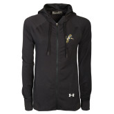Ladies Under Armour Black Varsity Full Zip Hoodie-Sabercat Lunge