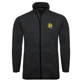 Black Heather Fleece Jacket-Sabercat Head
