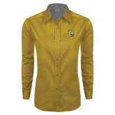 Ladies Gold Twill Button Down Long Sleeve-Sabercat Head