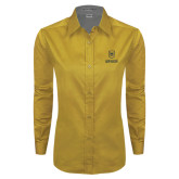 Ladies Gold Twill Button Down Long Sleeve-Maranatha Baptist University