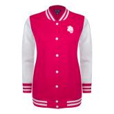 Ladies Pink Raspberry/White Fleece Letterman Jacket-Sabercat Head