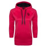 Ladies Pink Raspberry Tech Fleece Hooded Sweatshirt-Sabercat Head